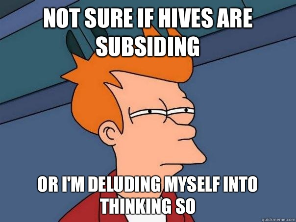 Not sure if hives are subsiding Or Im deluding myself into t - Futurama Fry