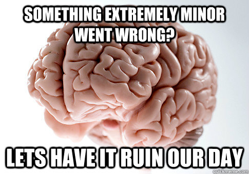 something extremely minor went wrong lets have it ruin our  - Scumbag Brain