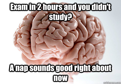 exam in 2 hours and you didnt study a nap sounds good righ - Scumbag Brain