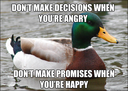 dont make decisions when youre angry dont make promises w - Actual Advice Mallard