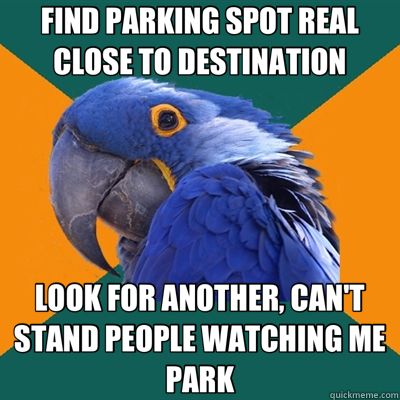 FIND PARKING SPOT REAL CLOSE TO DESTINATION LOOK FOR ANOTHER - Paranoid Parrot