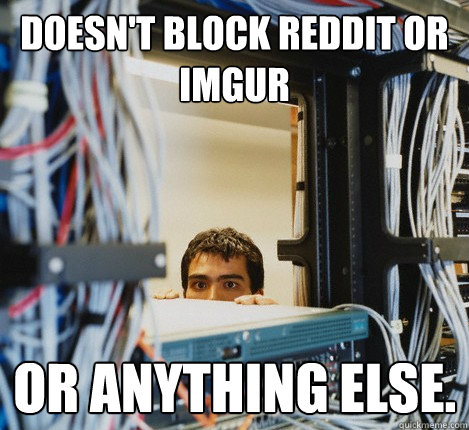 doesnt block reddit or imgur or anything else - Good Guy IT Guy