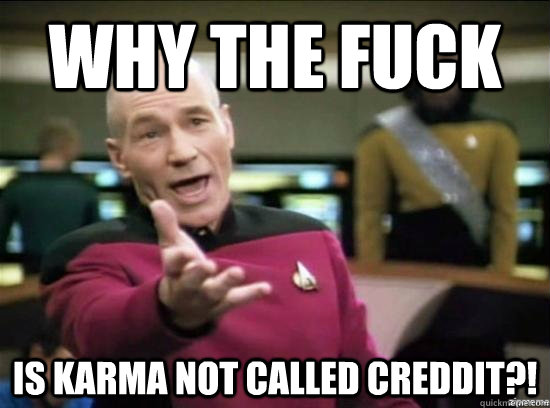 why the fuck is karma not called creddit - why the fuck picard