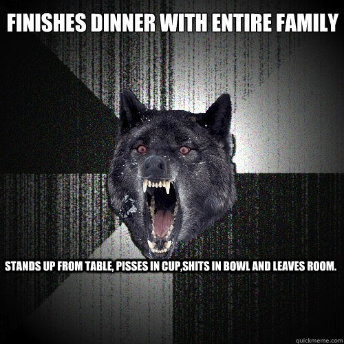 finishes dinner with entire family stand - Insanity Wolf