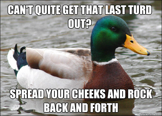 cant quite get that last turd out spread your cheeks and r - Actual Advice Mallard