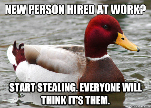 new person hired at work start stealing everyone will thi - Malicious Advice Mallard