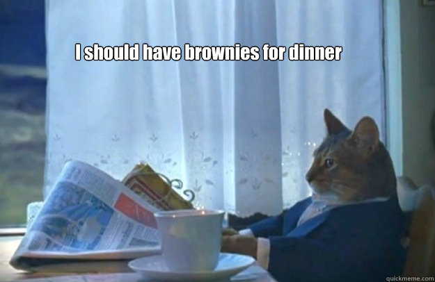 i should have brownies for dinner - Sophisticated Cat