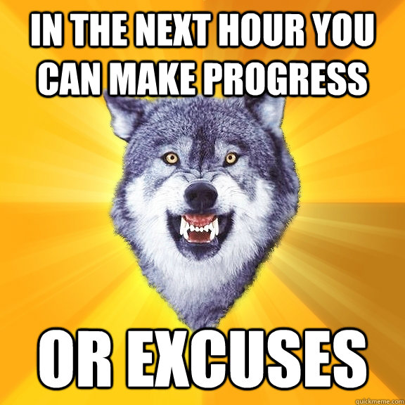 in the next hour you can make progress or excuses - Courage Wolf