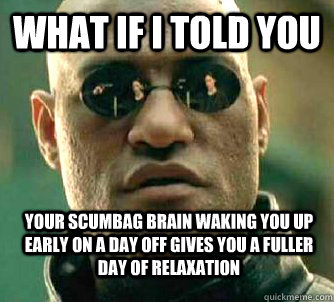 what if i told you your scumbag brain waking you up early on - WhatIfIToldYouBing