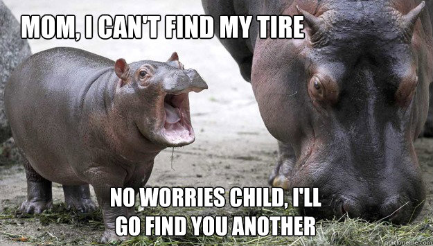 mom i cant find my tire no worries child ill go find you - 