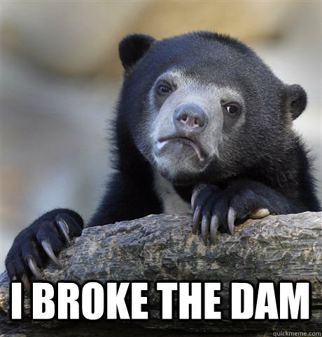 i broke the dam - Confession Bear