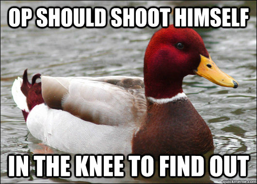 op should shoot himself in the knee to find out - Malicious Advice Mallard