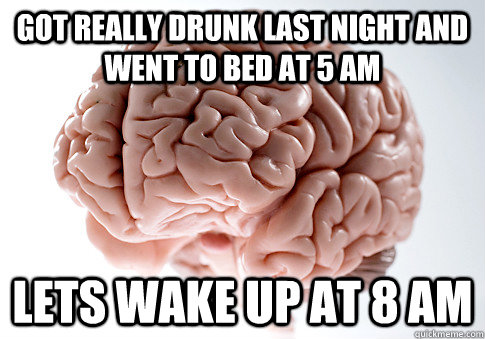 got really drunk last night and went to bed at 5 am lets wak - ScumbagBrain