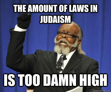 the amount of laws in judaism is too damn high - Too Damn High