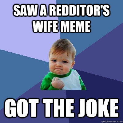 saw a redditors wife meme got the joke - Success Kid