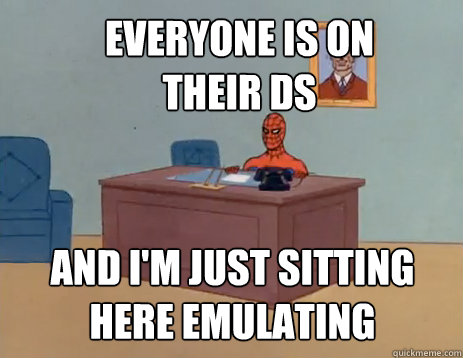 everyone is on their ds and im just sitting here emulating - masturbating spiderman