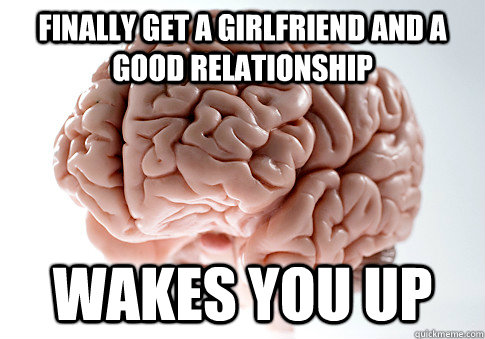 finally get a girlfriend and a good relationship wakes you u - Scumbag Brain