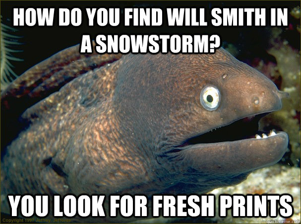 how do you find will smith in a snowstorm you look for fres - Bad Joke Eel