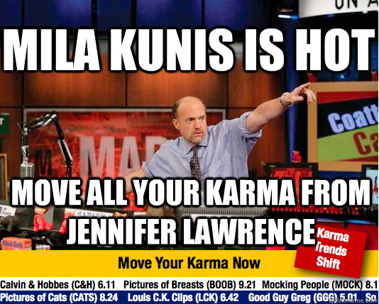 mila kunis is hot move all your karma from jennifer lawrence - Mad Karma with Jim Cramer