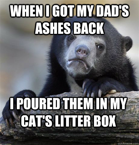 when i got my dads ashes back i poured them in my cats lit - confessionbear