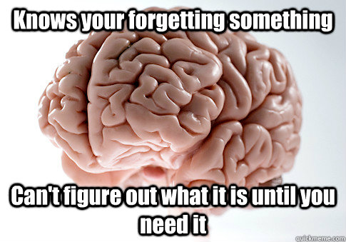 knows your forgetting something cant figure out what it is - Scumbag Brain
