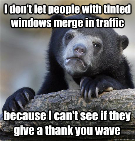 i dont let people with tinted windows merge in traffic beca - Confession Bear