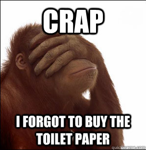 crap i forgot to buy the toilet paper - Sudden Realisation Orangutan