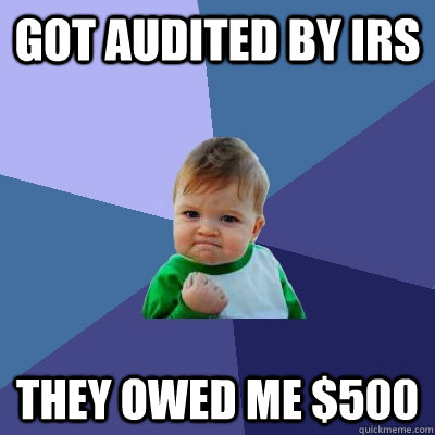 got audited by irs they owed me 500  - Success Kid