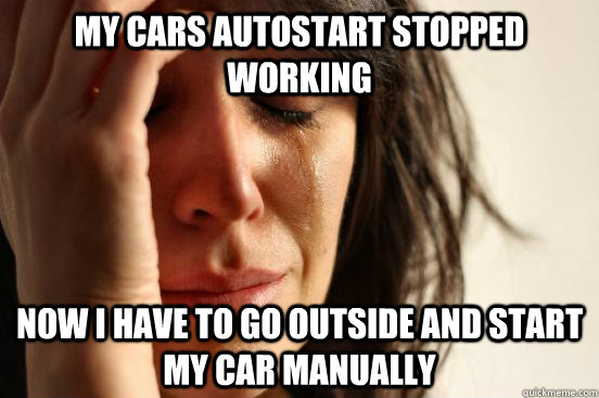 my cars autostart stopped working now i have to go outside a - First World Problems
