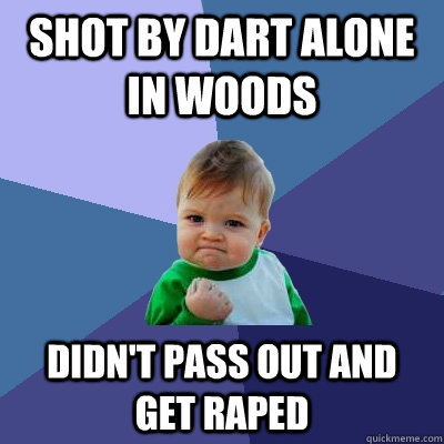 shot by dart alone in woods didnt pass out and get raped - Success Kid