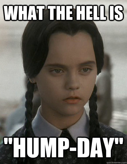 Funny Meme Wednesday : What the hell is quot hump day wednesday addams quickmeme