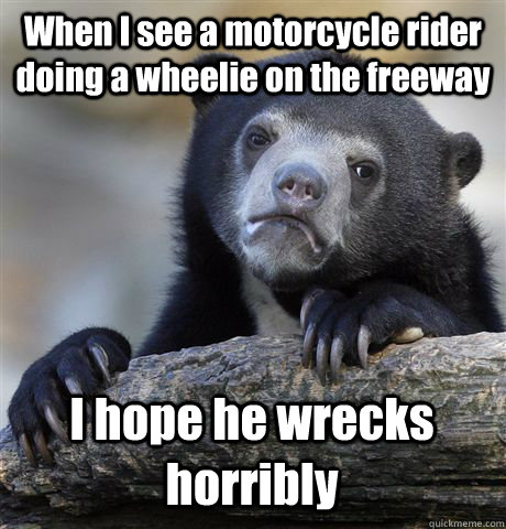 when i see a motorcycle rider doing a wheelie on the freeway - Confession Bear