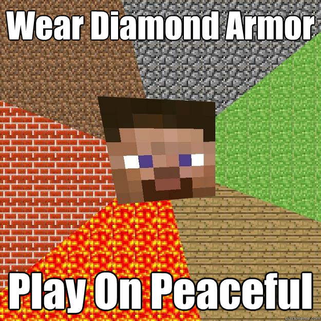 wear diamond armor play on peaceful - Minecraft