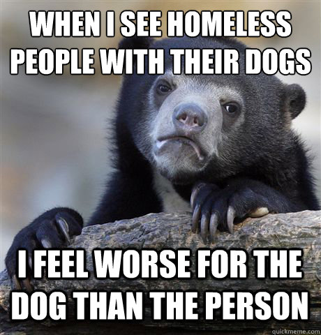 when i see homeless people with their dogs i feel worse for  - Confession Bear