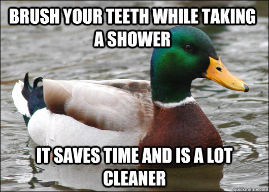 brush your teeth while taking a shower it saves time and is  - Actual Advice Mallard