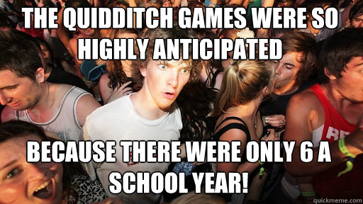 the quidditch games were so highly anticipated because there - Sudden Clarity Clarence