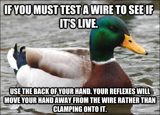 if you must test a wire to see if its live use the back of - Actual Advice Mallard
