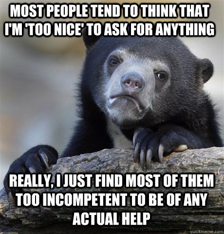 most people tend to think that im too nice to ask for any - Confession Bear