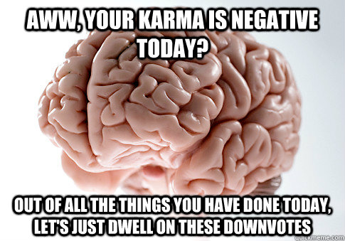 aww your karma is negative today out of all the things you - Scumbag Brain