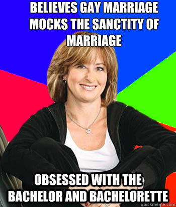 believes gay marriage mocks the sanctity of marriage obsesse - Sheltering Suburban Mom