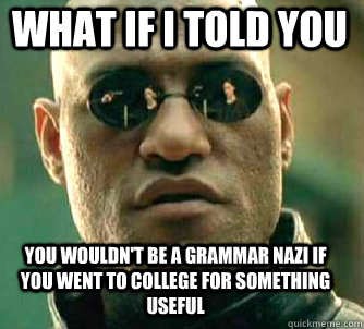 what if i told you you wouldnt be a grammar nazi if you wen - Matrix Morpheus
