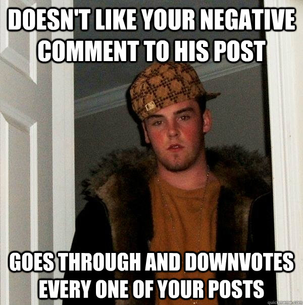 doesnt like your negative comment to his post goes through  - Scumbag Steve