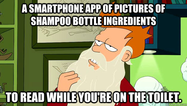 a smartphone app of pictures of shampoo bottle ingredients  - philosofry