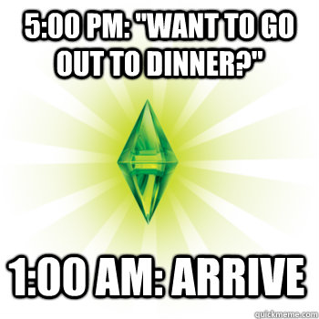 500 pm want to go out to dinner 100 am arrive - The Sims
