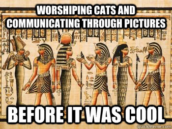 worshiping cats and communicating through pictures before it -