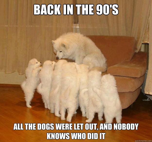 back in the 90s all the dogs were let out and nobody knows -
