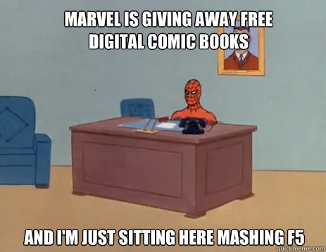 marvel is giving away free digital comic books and im just  - masturbating spiderman