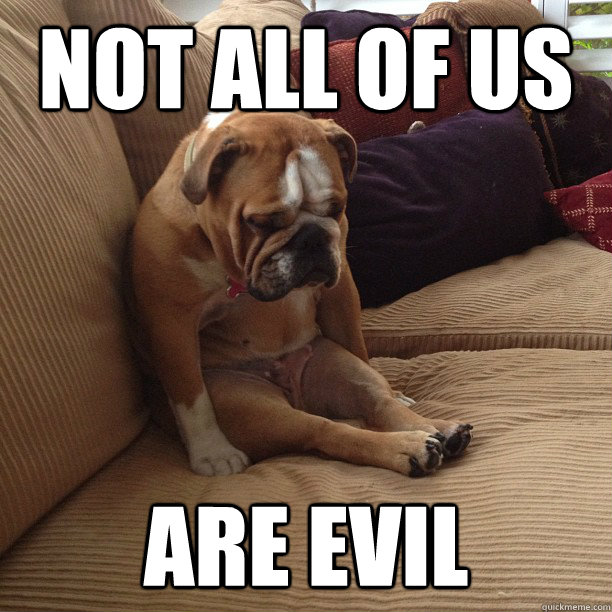 not all of us are evil - depressed dog