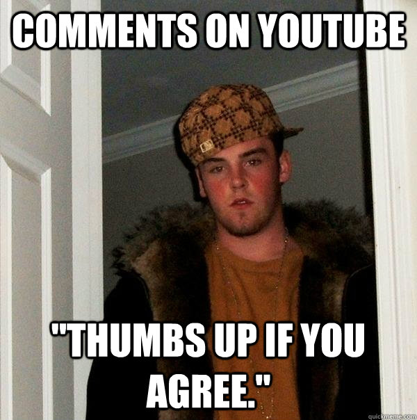 comments on youtube thumbs up if you agree - Scumbag Steve