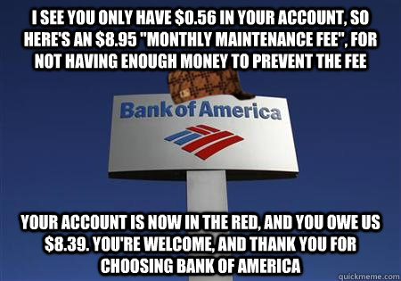 i see you only have 056 in your account so heres an 89 - Scumbag bank of america